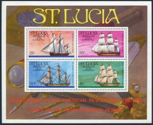 St Lucia 386a,MNH.Mi Bl.8. US-200,1976.Revolutionary Era Ships.