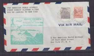 BRAZIL, 1946 PAN AM First Flight cover, Rio De Janeiro to New York.