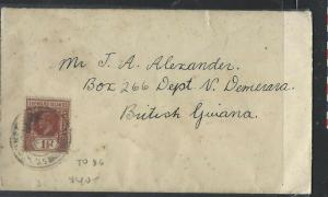 LEEWARD ISLANDS  (P1104B)  KGV 1 1/2 ST JOHN'S TO BRITSH GUIANA