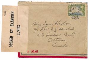 U133 1942 WW2 Bermuda Ex Customs Office PTO Ottawa Canada {samwells-covers}PTS