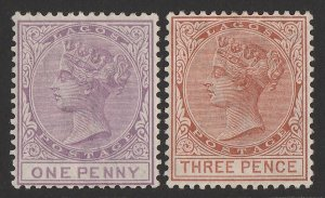 LAGOS : 1882 QV 1d lilac-mauve & 3d chestnut, wmk Crown CA, perf 14.