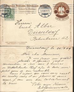 J) 1911 MEXICO, EAGLE BROWN, MEXICAN REPUBLIC, WITH SLOGAN CANCELLATION, POSTCAR