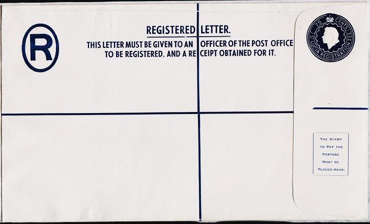 St.Lucia. Registered Envelope(75c) Unused