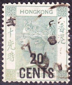 HONG KONG 1891 QV 20c on 30c Grey-Green SG48a Used