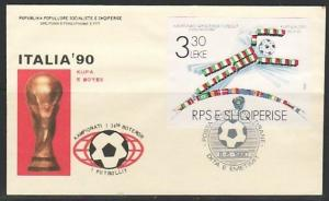 Albania, Scott cat. 2350. World Cup Soccer s/sheet. First day cover.