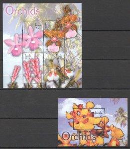 G0757 TUVALU FLORA FLOWERS ORCHIDS 1BL+1KB MNH