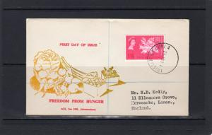 Tristan da Cunha 1963 Sc#68 Animals Cow Fish Chicken Freedom from Hunger FDC
