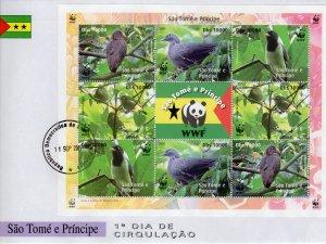 Sao Tome and Principe  2005 WWF/Birds Sheetlet(9) FDC Perforated Groth#U
