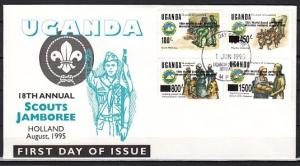 Uganda, Scott cat. 1301-1304. World Scout Jamboree issue. First day cover.