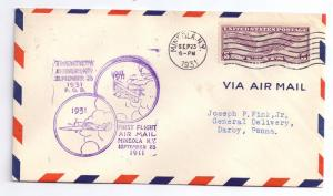 20th Anniversary First Flight Air Mail Mineola NY 1931 Cover