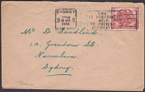 AUSTRALIA 1946 cover - PREVENT ACCIDENTS slogan............................57256