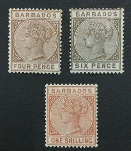 MOMEN: BARBADOS SG #99-102 1882-6 MINT OG H LOT #192430-1159