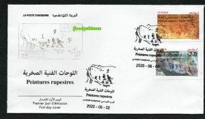 2020 - Tunisia - Rock Paintings: Djebel Ousselet - Djebel Bliji- Archeology -FDC