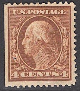 US Stamp #334 4c Washington MINT NO GUM SCV $35