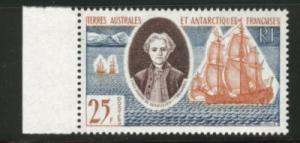 FSAT TAAF  Scott 20 MH*  tall ship stamp