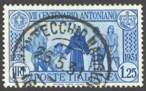 Italy Sc# 262 Used 1931 1.25l blue St. Anthony Freeing Prisoners