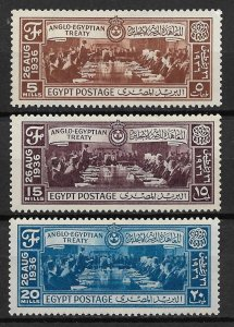 1936 Egypt 203-5 Signing of Anglo-Egyptian Treaty C/S of 3 MH