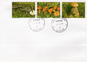 Sao Tome and Principe 1987 Sc#809 MUSHROOMS Strip (3) F.D.C.