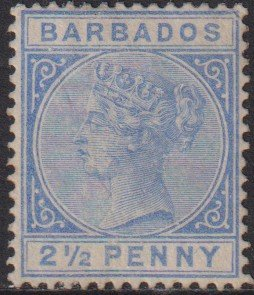 1882 -85 Barbados QV Queen Victoria 2½ Penny issue MLH Sc# 62 CV $145.00