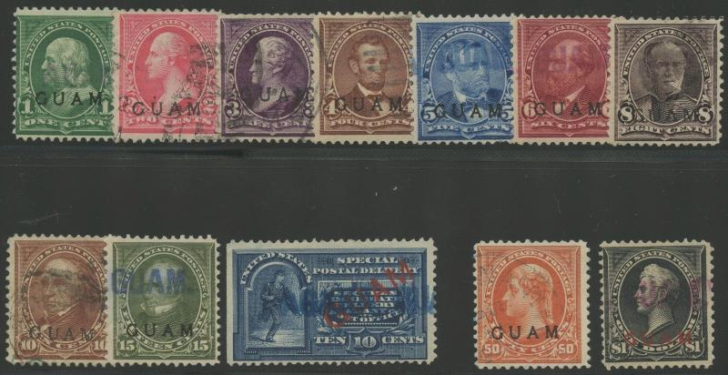 GUAM #1 // #E1 F-VF USED (12) DIFFERENT CV $1,990 WL9324