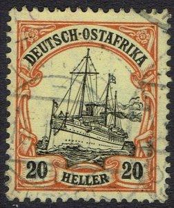 GERMAN EAST AFRICA 1905 YACHT 20H WMK LOZENGES USED