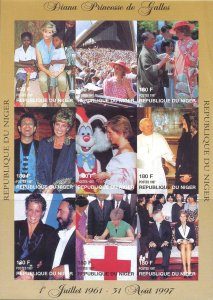 Niger IMPERF. 1997 Diana Elton John Pope John Paul II 9v Mint Full Sheet (L-119)