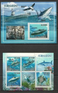 NS93 2009 S. TOME & PRINCIPE SHIPS SUBMARINES MARINE LIFE SHARKS BIRDS KB+BL MNH