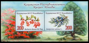 2017 Kazakhstan 1027-28/B94 Flora. The Red Book of Kazakhstan. Kazakhstan trees