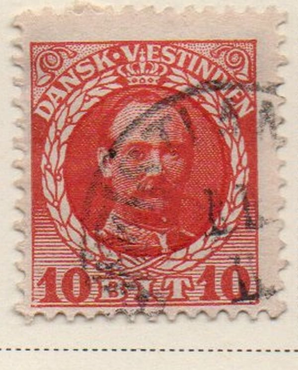Danish West Indies Sc 44 1908 10 bit red Frederik VIII stamp used