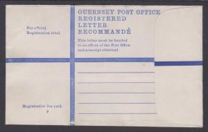 Guernsey, unused, Registered Entire, G size envelope