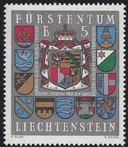 Liechtenstein #533 MNH single, Arms Liechtenstein & municipalities, issued 1973