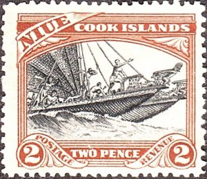 NIUE 1932 2d  Black & Red-Brown SG57 MH
