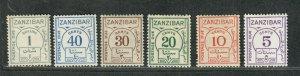 Zanzibar Sc#J18-J23 M/HH/VF, Postage Due, Cv. $62