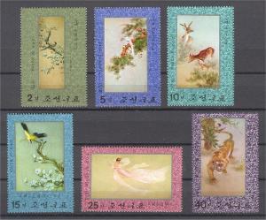 NORTH KOREA, ANIMALS EMBROIDERY MASTER PIECES FULL SET, MNH