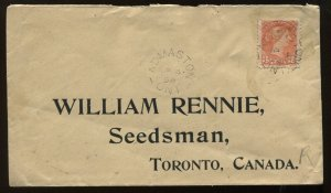 3 Cents Small Queen cover tied by Ap 4th 1896 Admaston ON CDS to Toronto