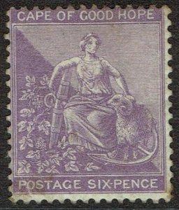 CAPE OF GOOD HOPE 1864 HOPE SEATED 6D WMK CROWN CC