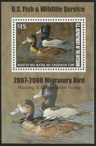 U.S., 2007, Scott #RW74b, $15.00 Ring Necked Duck, N.H., V.F., Signed by Artist