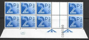 D91 2p 1982 Decimal Postage Due Cyl 4 block of 8 UNMOUNTED MINT