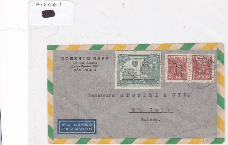 Brazil airmail stamp cover Ref 9068