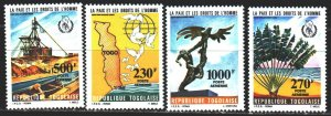 Togo. 1985. 1846-49. Peace and human rights, pigeons, map. MNH.