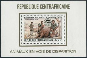 CAR C291A deluxe,MNH. Black rhinoceros,Parrot,Scout.