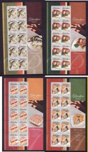 Gibraltar-Sc#1010-13-four unused NH sheets-Europa-Food-Gastronomy-2005-