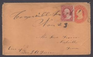 **US 19th Century Cover, SC# 26 on #U10, Conyersville, TN, M/S Cxl, DPO4