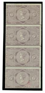 SS3322 1864 6d Postal Fiscal Stip of Four SG.F14/m/m