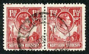 NORTHERN RHODESIA SG29/b 1938-52 1 1/2d carmine-red left stamp Tick bird flaw