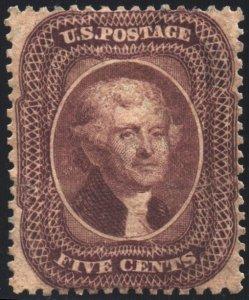 Scott #30A - 5c Jefferson - Brown - Unused No Gum - 1860 Classic VF+