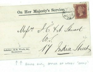 GB SCOTLAND Cover Edinburgh *HM WOODS* Official TREES 1872 Penny Red 91.5