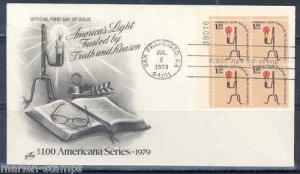 US  $1 CANDLE PLATE BLOCK 1979 ARTCRAFT FDC