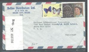 BELIZE (P2708B) 1977 50C BUTTERFLY +QEII REG TO USA