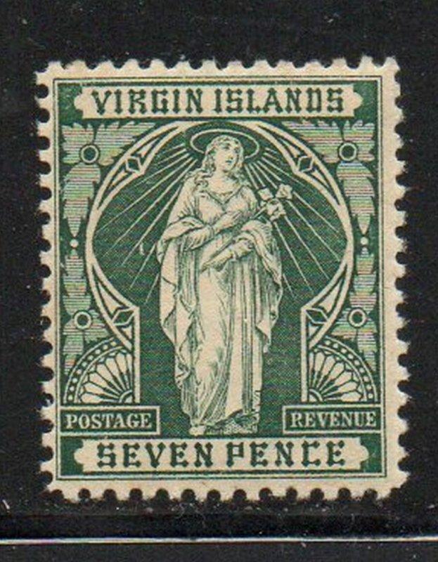 Virgin Islands Sc26 1899 7d green St Ursula stamp mint